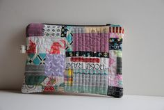 """SO pretty.  1/4"""" mark: Patchwork Zippered Pouch"""