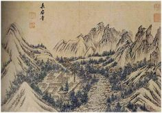(Korea) Jangan-sa temple in Mt. Geumgang, from the album of 1788 by Kim Hong-do brush color on paper. Korean Art, Asian Art, Korean Painting, Modern Pictures, Postmodernism, Conceptual Art, Chinese Art, Art Google, Cool Art