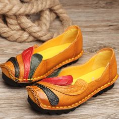Hot-sale SOCOFY Leather Hollow Out Breathable Flower Retro Soft Backless Loafers - NewChic Mobile.