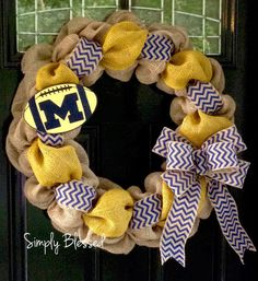 Yellow and Blue Chevron Burlap Wreath 22 inch for front door or accent - Michigan, ETSU colors