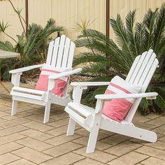 2x Adirondack Acacia Hardwood Outdoor Chair - White | Buy Adirondack Chairs