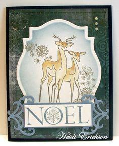 Prickley Pear Rubber Stamps:  JJ0030 Reindeer Pair and FF0089 Noel