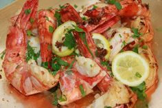 Tiger Prawns with ginger butter and parsley YUM Very easy to cook and tasts wonderful