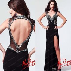 Wholesale Prom Dresses - Buy 2014 Luxury Prom Dresses 82022M Sexy V Neck Crystals Tulle Chiffon Keyhole Back Side Split Black Vintage Glitz Formal Evening Gowns, $125.24 | DHgate