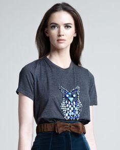 Burberry Prorsum Beaded Owl Tee, Suede Bow Belt & Velvet Pencil Skirt - Neiman Marcus