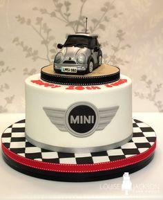 Mini car cake with chequered board and mini logo