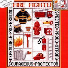 Fire Fighter Cross Stitch Kit, Candamar Designs, Boys Room Decor, Firemen, Fire Truck, Ax, Boots & More, New