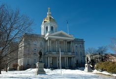 new hampshire state capital building in concord, new hampshire - stuart park, architect - greek revival - 1816 New England States, New England Travel, Concord Nh, Take Five, Capitol Building, 50 States, At The Hotel, New Hampshire, Wonderful Places