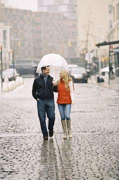 New York city engagement, rainy day engagement inspiration, tan wellies, clear umbrella, city engagement, orange vest