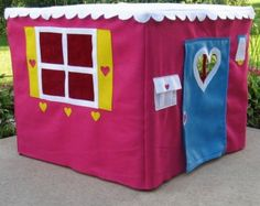 Card Table Playhouse Play Tent Fort Red Double by missprettypretty