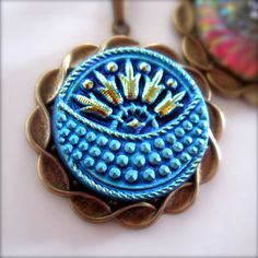 Glass Pendant Necklace  Button Jewelry by PaganucciDesigns on Etsy, $20.00