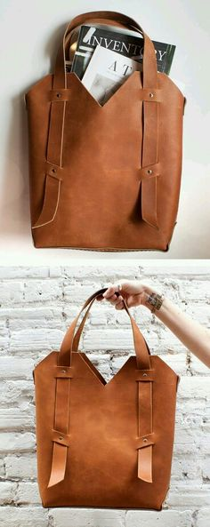Nice and Simple Leather Projects, Leather Backpack, Diy Leather Tote, Leather Totes, Leather Bags Handmade, Handmade Bags, Leather Purses, Leather Handbags, Handmade Products