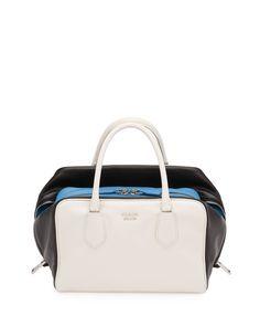 Prada Soft Calf Medium Tricolor Inside Bag, White/Black/Light Blue (Talco+Nero), White/Black/Lt Bl
