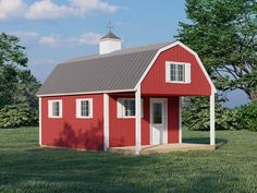 Shed With Loft, Shed With Porch, House Plan With Loft, Loft Plan, Shed To Tiny House, Loft House, Tiny House Cabin, Tiny Houses, Lofted Barn Cabin