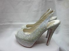 Silver Louboutin Crystal Covered Peep-toe Pumps