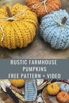 Crochet Pumpkin Pattern, Halloween Crochet Patterns, One Skein Crochet, Crochet Fall, Crochet Hat For Women, Chunky Crochet, Easy Crochet Patterns, Cute Crochet, Crochet Designs
