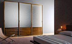 M17 - Mosaico | Contemporary Collections Le Fablier | 3-sliding door wardrobe | Measures in cm (LxDxH) 300x62x249 | Structure in lime wood | Doors are available in wood, with leather or false leather inserts, with glass or mirrors