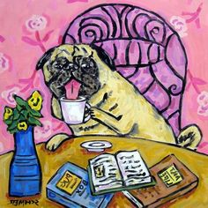 Pug at the Coffee Shop Dog Art TIle by lulunjay on Etsy, $12.49