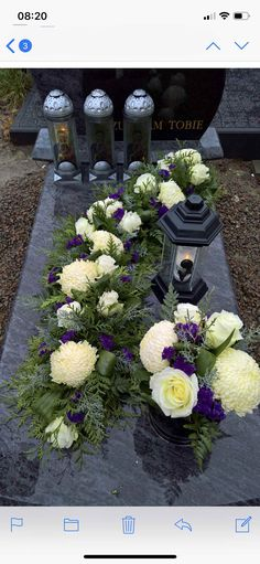 Funeral Flower Arrangements, Funeral Flowers, Floral Arrangements, Grave Decorations, Flower Decorations, Zantedeschia, Outdoor Living, Outdoor Decor, Fall Flowers