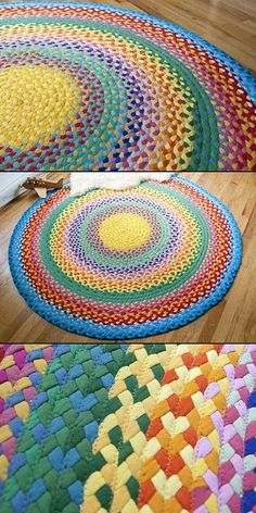 Rainbow rug made from T-shirts How To Make A Traditional Rag Rug Diy Crochet Rag Rug, Crochet Mandala, Rag Rug Diy, Fabric Crafts, Sewing Crafts, Tshirt Garn, Homemade Rugs, Rag Rug Tutorial, Braided Rug Tutorial