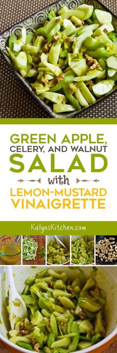 Green Apple, Celery, and Walnut Salad with Lemon-Mustard Vinaigrette is a fun idea for a fall or winter salad. You could add some dried cranberries to make this perfect for Thanksgiving or Christmas dinner. [found on KalynsKitchen.com] #AppleSalad #AppleCelerySalad #WinterSalad #HolidaySalad