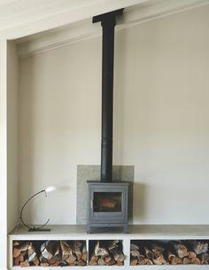 Modern Wood Burning Stoves, Wood Stoves, Freestanding Fireplace, Shelter Island, Log Burner, Cozy Cottage, Small Living, Living Room Decor, New Homes