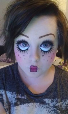 Doll Inspired Make-up - Have to remember this for Halloween.