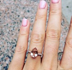 So in love with this pear-shaped morganite engagement ring! From the shape to the color, this is a beautifully unique ring.