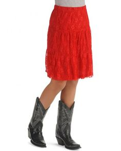 Girls' Tiered Lace Overlay Skirt