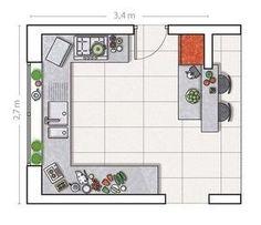Plano con muebles en tres frentes y barra