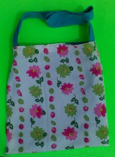 Blue tote,white with pink  flower print when reversed by  one of a kind larissamyrie.art washable, strong, upcycled, fun, #fashion #style #art #barbie #shoppingbag #totebag #shoulderbag #slowfashion
