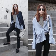 Get this look: http://lb.nu/look/8666603  More looks by Rekay Style: http://lb.nu/rekaystyle  Items in this look:  Gentle Monster Love Punch Mirror Sunglass, By The Way. Bomber Jacket, &Other Stories Stripe Top, Mink Pink Wide Cuff Shirts, Proenza Schouler Ps1 Mini Bag, Mother Boot Cut Jeans, Steve Madden Mules, Lovers + Friends Western Belt   #casual #chic #retro #kfashion #koreafashion #kstyle #seoul #streetfashion #fashionbloggerinkorea