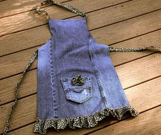 Items similar to RESERVED Upcycled Denim Apron Flirty leopard print ruffle Small on Etsy Jean Crafts, Denim Crafts, Sewing Aprons, Sewing Clothes, Denim Aprons, Jean Apron, Salopette Short, Cute Aprons, Denim Ideas