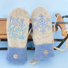 "Embroidered Sweater Mittens ""Baby it's Cold Outside"" Snowflake Shearling Lined Super Warm"