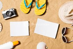 66deabe45bd01 Summer vacation composition with pair of yellow flip flop sandals