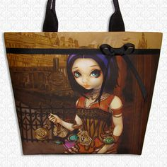 Steampunk Poe large tote bag Jasmine Becket Griffith by HautTotes