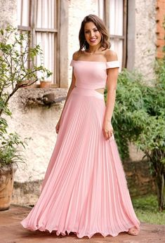 Pink Off-Shoulder pleated maxi Tube Gown, Cold Shoulder Gown, Net Gowns, Ballroom Gowns, Sexy Gown, Monochrome Fashion, Casual Dresses, Formal Dresses, White Gowns