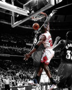 Michael Jordan as he throws down a dunk on the Atlanta Hawks in the 1997 NBA Playoffs.