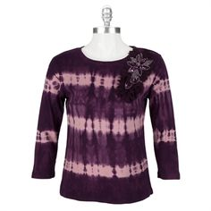 Nature Art by Lynn Yang Tie-Dye Top with Beaded Flowers #VonMaur #NatureArt #Top #Beaded #Flowers
