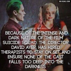 I'm so hyped for Suicide Squad. Margot Robbie was soooooo good as Harley Quinn! Fandoms, Dc Movies, Joker And Harley Quinn, Marvel Dc Comics, On Set, Fun Facts, Superhero, Joker Facts, Batman Facts