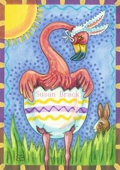 PETER THE EASTER FLAMINGO  - Hippity Hop, here comes the Easter Flamingo.  Original Holiday Birds by Susan Brack EBSQ
