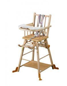 Chaise haute Marcel transformable vernis naturel - Chaises traditionnelles Marcel dossier barreaux - Chaises