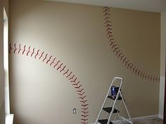 Baseball stitching painted  wall by dixie, Painting this, this weekend on sons wall! So excited cant wait for it to be done.
