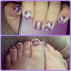 Happily Ever After and Pixie #jamberry #manicure #easy #nails #nailart #combination #pink #purple #chevron #sparkle #glitter