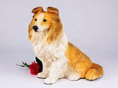 Sheltie Tri-Color Cremation Pet Urn for secure installation of your beloved pet's ashes indoors or outdoors *** Read more  at the image link.
