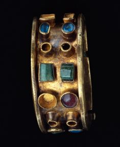 "archaicwonder: "" Roman Gold, Glass and Emerald Bracelet, C. 250 - 400 BC """