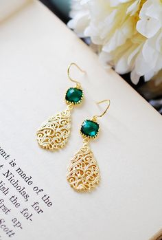 Emerald Green Earrings Gold Filigree Drop Earrings by LeChaim