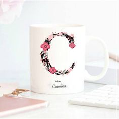 Monogram Mug Letter Mug Initial Mug Personalized Christmas Letter Mugs, Name Mugs, Personalized Christmas Mugs, Personalized Mugs, Gifts In A Mug, Gifts For Her, Sublimation Mugs, Diy Mugs, Cute Coffee Mugs