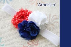 4th of July headband, Patriotic America Puff Shabby Rose Flower Headband newborn or baby girl photography prop. $8.00, via Etsy.