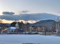 Jackson, NH on a February evening looking toward The Wentworth and the Jackson Community Church.